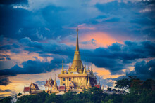 Wat Khiriwong, The Golden Temple On The Mountain, The One Of Landmark Of The Thai Temple, Nakhon Sawan,in Thailand.