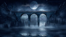 Night Fantasy Futuristic Landscape With Abstract Mountains And Island On The Water, Old Concrete Bridge, Moonlight. Dark Natural Scene With Reflection Of Light In The Water. Dark, Dramatic Forest. 3D
