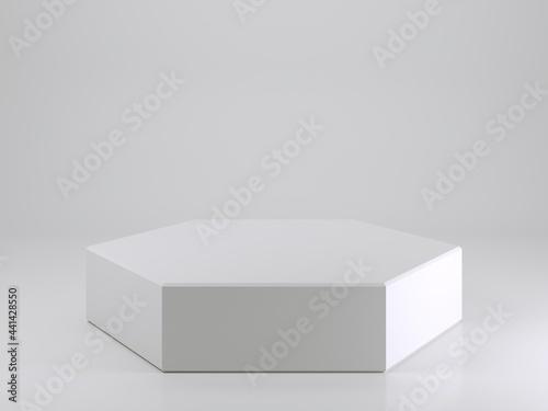 Leinwand Poster Empty white podium in shape of regular hexagon 3d