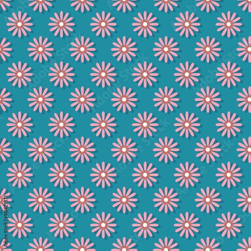 Photo pink daisy flowers with blue background seamless repeat pattern