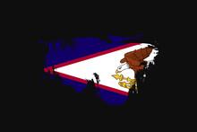 Grunge Style Flag Of The American Samoa. Vector Illustration.