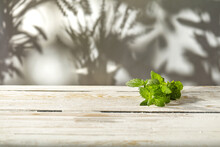 Fresh Mint Decoration On Table And Free Space For Your Decoration