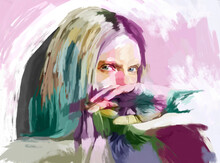Painted Illustration Of Woman In Melancholic Mood