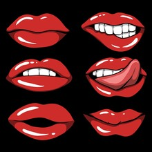 Sexy Red Lips Set Vector Illustration