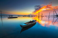 Traditional Boat At Beauty Sunset In Bataam Island