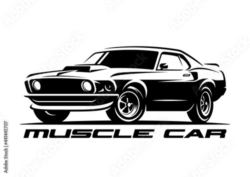 Fotografia Muscle car retro logo, banner, emblem. Vintage t-shirt print
