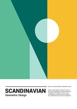 Scandinavian Poster Template With Lettering. Yellow And Green Geometric Shapes. Colorful Abstraction Illustration With Bauhaus And Cubism Style. Art For Print And Poster.