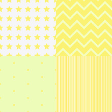 Four Seamless Backgrounds In Yellow And White Colors. Ideal Use For Children's Textiles, Paper And Other Things.