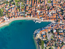Seaside Town Photographed From The Air By Drone