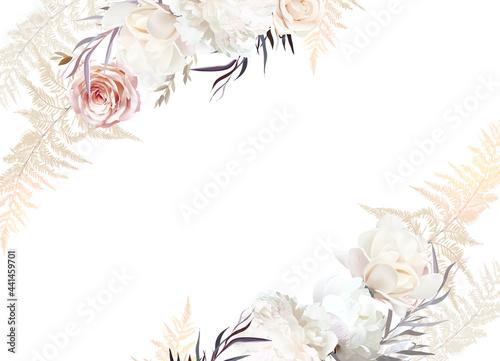 Fotografie, Obraz Pastel pampas grass, ivory peony, creamy magnolia, dusty rose, silver dried leaves
