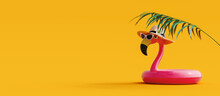 Pink Flamingo With Sunglasses And Hat Under Palm Leaf On Yellow Summer Background 3D Rendering, 3D Illustration