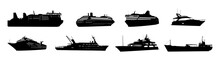Ship And Boat Silhouette Vector Collection