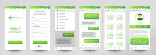 Design Of Mobile App Chat Room, UI, UX, GUI. Set Of User Registration Screens With Login And Password Input, Account Sign In, Sign Up, Home Page. Modern Style. Minimal Application. UI Design Template