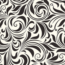 Vector Seamless Brown Floral Pattern With Leaves And Curls.