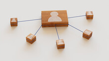 Social Technology Concept With User Symbol On A Wooden Block. User Network Connections Are Represented With Blue String. White Background. 3D Render.