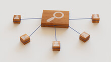 Search Technology Concept With Magnifier Symbol On A Wooden Block. User Network Connections Are Represented With Blue String. White Background. 3D Render.