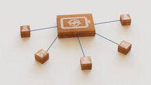 Energy Technology Concept With Battery Symbol On A Wooden Block. User Network Connections Are Represented With Blue String. White Background. 3D Render.
