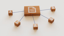 Word Document Technology Concept With Document Symbol On A Wooden Block. User Network Connections Are Represented With Blue String. White Background. 3D Render.