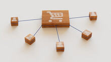 Ecommerce Technology Concept With Shopping Symbol On A Wooden Block. User Network Connections Are Represented With Blue String. White Background. 3D Render.