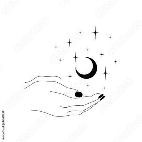 Dłonie z czarnymi paznokciami trzymające półksiężyc Fototapet