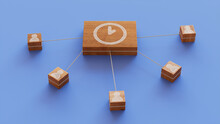 Time Technology Concept With Clock Symbol On A Wooden Block. User Network Connections Are Represented With White String. Blue Background. 3D Render.