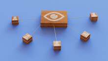 Vision Technology Concept With Eye Symbol On A Wooden Block. User Network Connections Are Represented With White String. Blue Background. 3D Render.