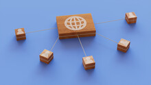 Internet Technology Concept With Web Symbol On A Wooden Block. User Network Connections Are Represented With White String. Blue Background. 3D Render.