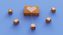 Love Technology Concept With Heart Symbol On A Wooden Block. User Network Connections Are Represented With White String. Blue Background. 3D Render.