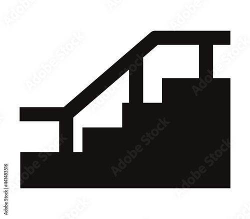 Slika na platnu 手すりのついた階段のアイコン/白背景