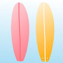 Surfboards Summer Surfing Beach Vector Illustration