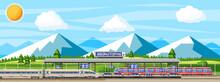 Modern Railway Station With High Speed Train