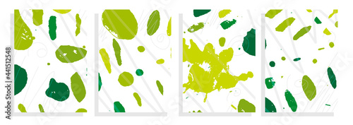 Obraz na plátně art template set, green nature seasons, vector abstract background  with drawing