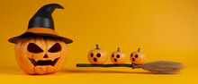 Halloween Grinning Pumpkins With Witch Hat And Broom On Yellow Background, 3D Rendering