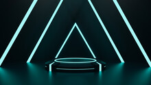 Abstract Neon Futuristic Sci-fi Mock-up Scene With Podium Or Showcase Product, 3D Rendering