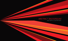 Abstract Red Yellow Orange Line Speed Triangle Shape Direction On Black Design Modern Futuristic Background Vector Illustration.