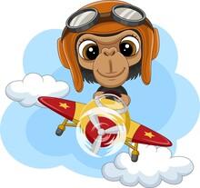 Cartoon Baby Chimpanzee Operating A Plane