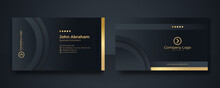Black And Gold Business Card Background Template. Clean Dark Gold Business Card. Gold Black Modern Creative Business Card And Name Card, Horizontal Simple Clean Template Vector Design