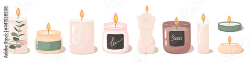 Fotografie, Obraz paraffin aromatic candles for aroma therapy isolated on light background