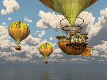 Fantasie Heißluftballone über Dem Meer
