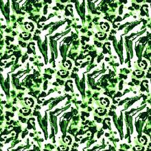 Jungle Exotic Art. Jade Animal Print Pattern.