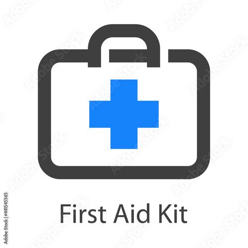 Photographie Logo First Aid Kit con maletín con cruz con lineas en color gris y azul