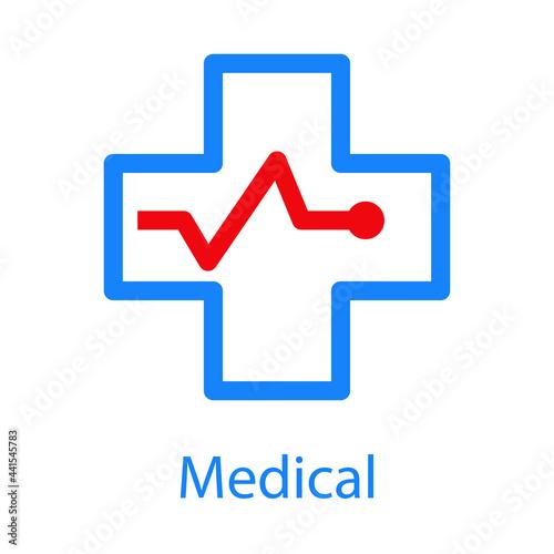 Tableau sur Toile Logo con texto Medical con cruz con ritmo cardiaco con lineas en color azul y ro
