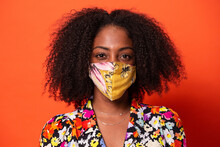 Stylish Black Woman Wearing On Face Mask