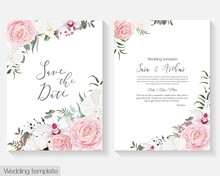 Vector Floral Template For Wedding Invitations. Pink Roses, White Orchids, Berries, Gypsophila, Eucalyptus, Green Plants And Flowers. Postcard For Your Text.