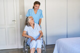 Fototapeta Na sufit - Elderly carer pushes elderly woman in a wheelchair