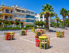 Tavern Without Customers Amid A Coronavirus Pandemic On The Waterfront Of The Resort Town Of Methana On The Peloponnese In Greece