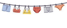 Hanging Man And Woman Lingerie, Underwear And Swimwear Flat Style Hand Drawn Vector Illustration Isolated On White Background.