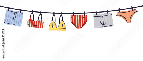 Fotografie, Obraz Hanging man and woman lingerie, underwear and swimwear flat style hand drawn vector illustration isolated on white background