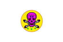 Colorful Skull Logo Design On Isolated Background