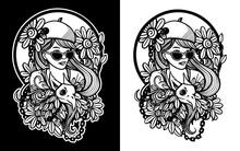 Black White Lady Illustration Set